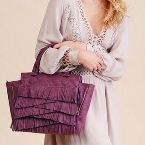 Free People Purple Fringe Satchel Crossbody Bag